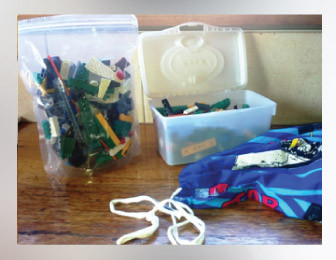 storing lego in containers and zip lock bags